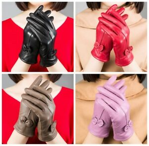 Genuine-Lambskin-Leather-Gloves-Women-039-s-Winter-Warm-Driving-Soft-Lining-Fashion