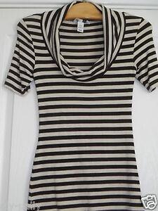Detalles de Mujer H&M Ajustado de Rayas Camiseta Talla Eur Xs Marrón Crema H&M
