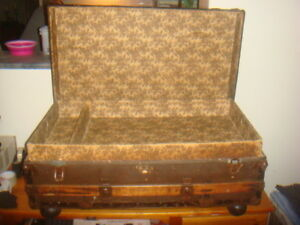 Audacious Antique Trunk/chest/ Traveller A Wide Selection Of Colours And Designs Tables