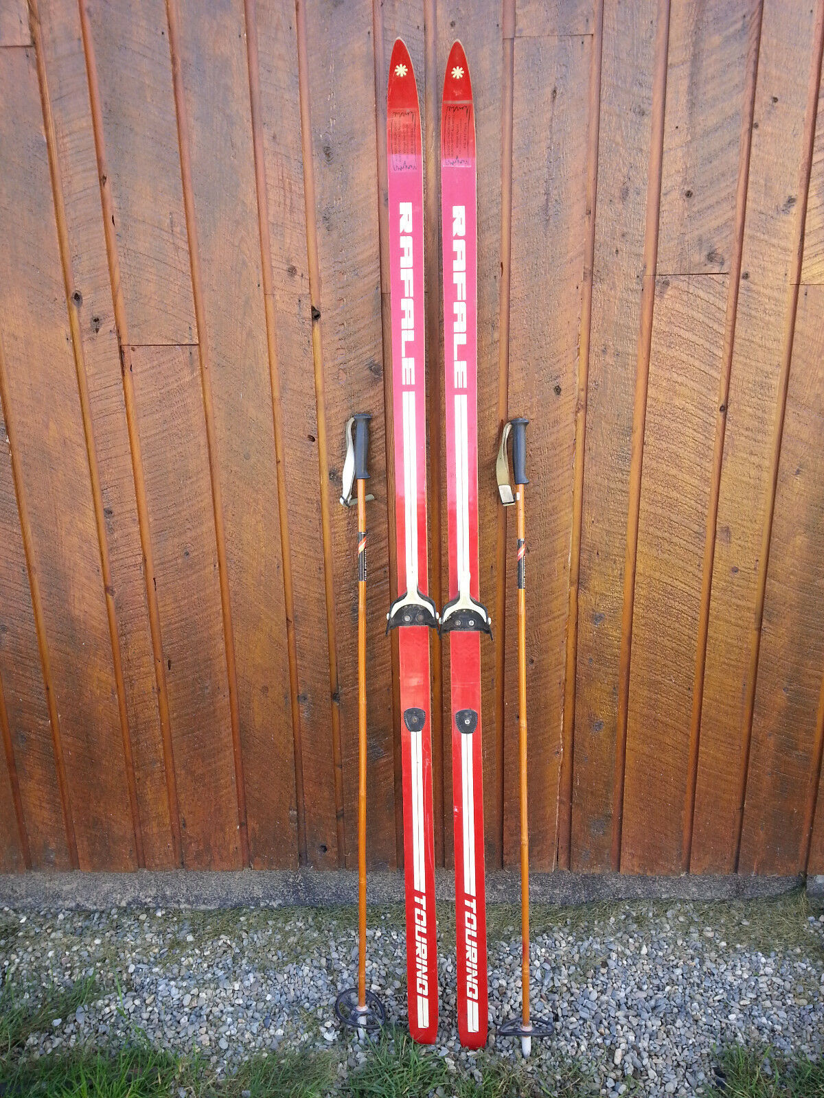 VINTAGE Wooden 75  Skis Has   RED Finish Signed RAFALE + Bamboo Poles  best quality best price