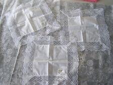 3 pcs ladies' handkerchief, handkerchiefs, lace edged; crafts, wedding, Lot #10