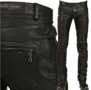 New-Mens-Leather-Punk-Rock-Motorcycle-Slim-Pant-Military-Skinny-Trousers-Pants
