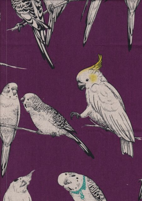 Country House 3 Birds on Purple - fat quarter 50 x 55 cms - Canvas Linen