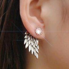 ANGEL WINGS  9K silver plated STUD EARRINGS INLAID  CZ CRYSTALS XMAS GIFT LADIES