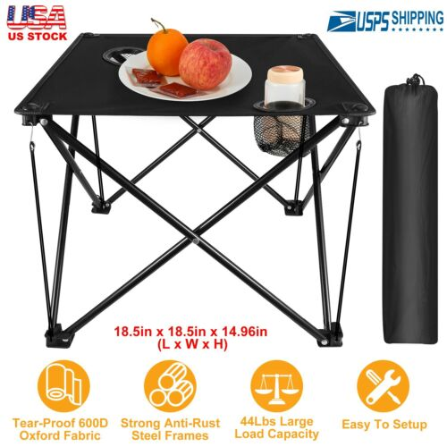 Foldable Camping Portable Picnic Table Travel Desk With Cup Holder Carrying Bag