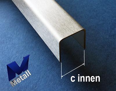 Edelstahl U-Profil gebürstet Korn 320 Innen Maß axcxb 40x 30x 40 mm  1.4301 V2A