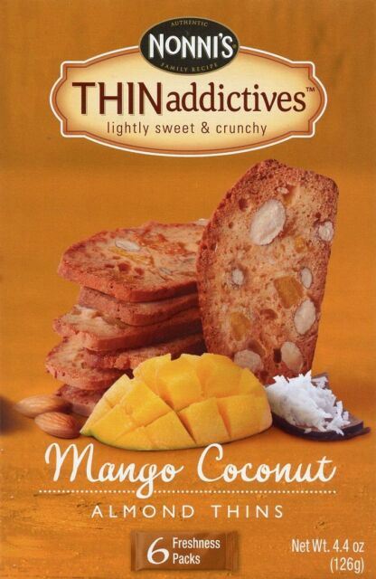 Nonni's THIN addictives  almond thins 6 freshness packs in 1 box THINaddictives