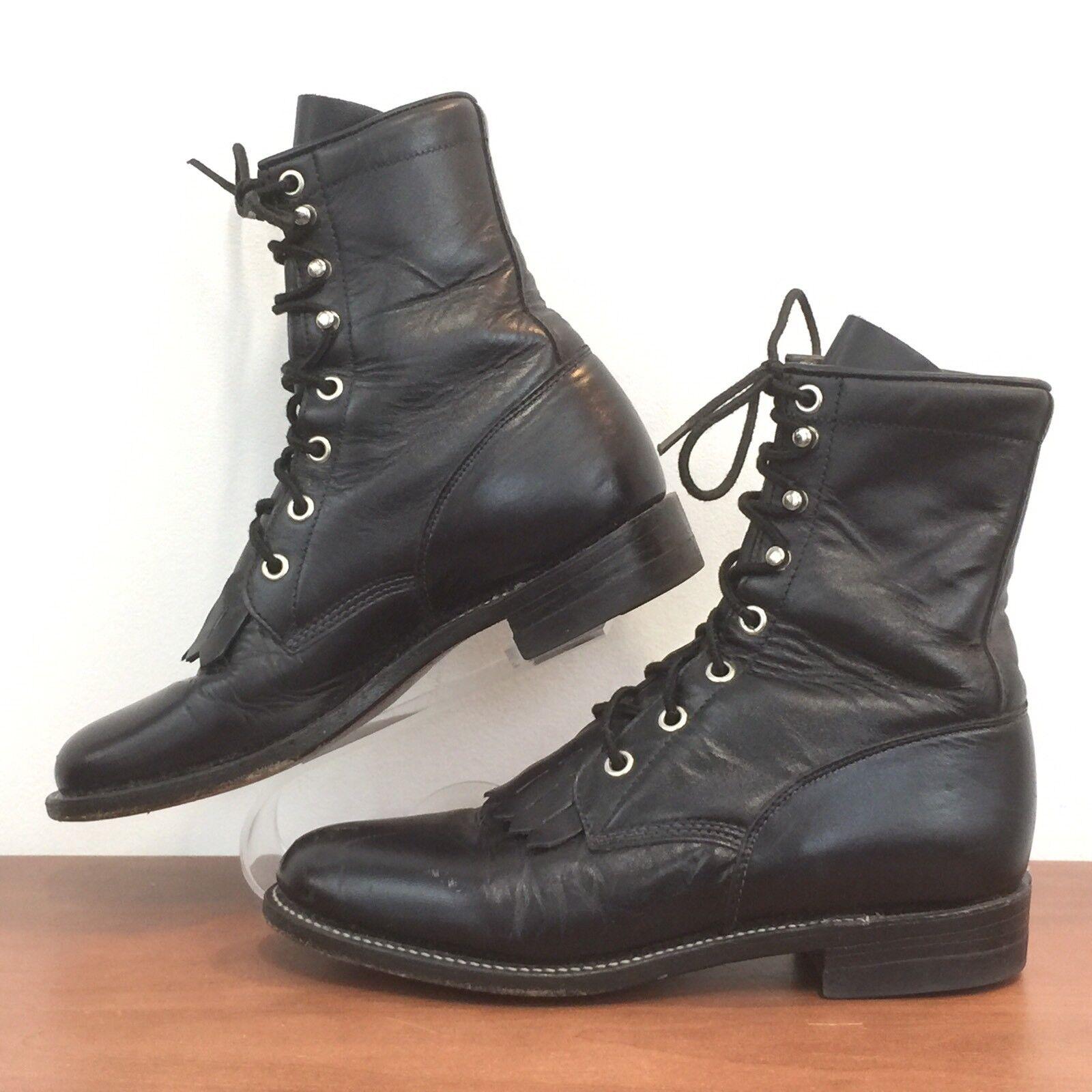Justin para mujer 506 Negro Cuero Con Cordones botas flecos Western Roper para mujer 5.5 B