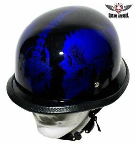Blue Horned Skull Front to Back Padded Lining Novelty Half Helmet S,M,L,XL,XXL