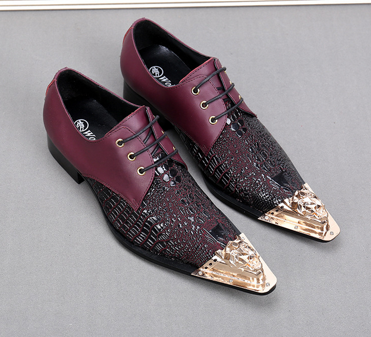 Uomo Metal Pointy Toe Pelle Wingtip Business Crocodile Pattern Scarpe Nightclub