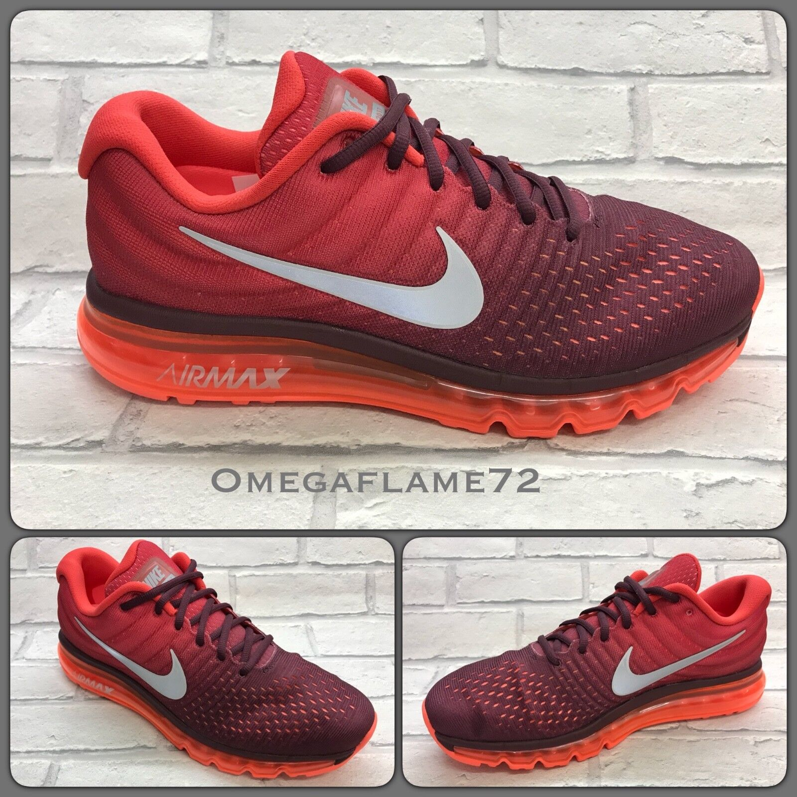 Nike Air Max 2017, NEUF NEUF NEUF sans étiquette Tailles US 14, 849559-601, Nuit Marron-Gym Red 03f78d