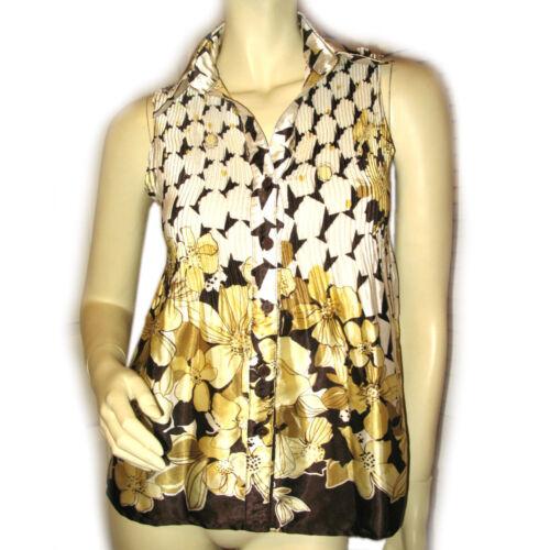 SERE NADE Womens Sleeveless Button Top Blouse M Fl