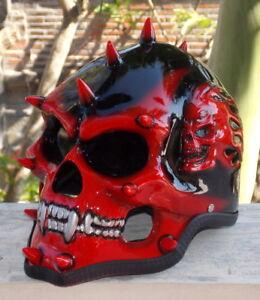 Motorcycle-Helmet-Skull-Skeleton-Punk-MONSTER-Mohawk-Spikes-Full-face-3D-Red