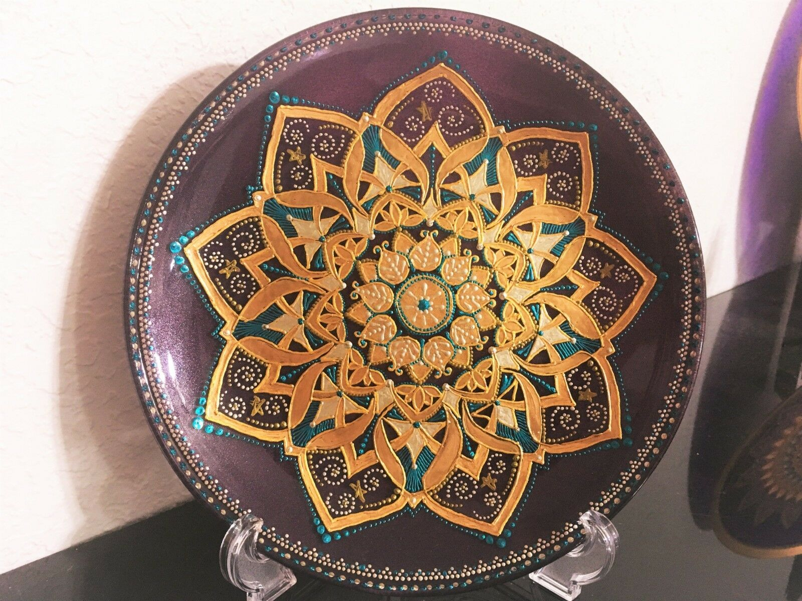 Gift Decorative Glass Plate  Mandala  - Hand Painted Home Decor Point-to-Point