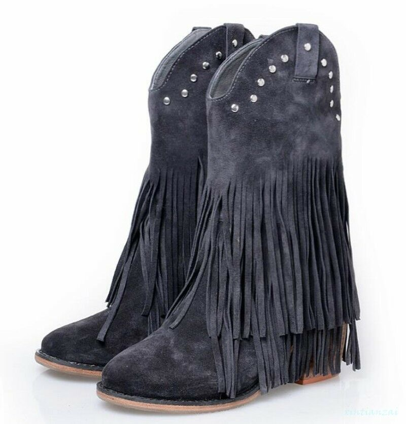 Donna Real Suede Pelle Stivali Tassle Rivet Stylish Ankle Stivali Pelle Pull On Block Heel 6e2327