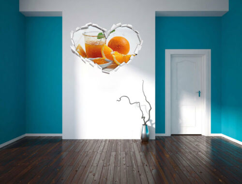 3d LOOK coeur mural autocollant-sticker Oranges oranges CONFITURE JUS D/'ORANGE