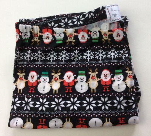Plus Christmas Holiday Footless Leggings Black Santa Snowman Reindeer Snowflake