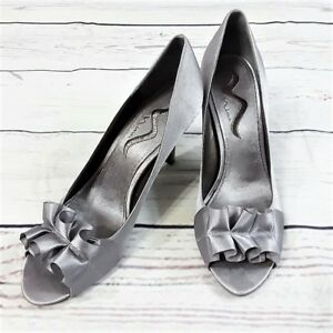 Pre-Owned-Nina-Women-039-s-Silver-Satin-Peep-Toe-Dress-Shoes-Heels-Size-9-5-M