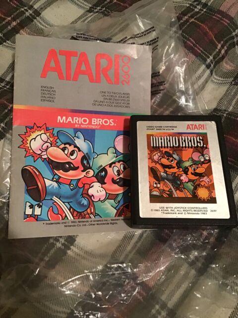 Mario Bros Atari 2600 Game Authentic Cartridge Alternate Silver Label + Manual