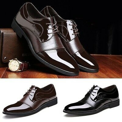 New Men's Faux Leather Business Shoes Luxury Crocodile Pattern Formal Shoes Gift