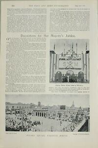 1897-PRINT-DECORATIONS-HER-MAJESTYS-JUBILEE-HYTHE-SCHOOL-OF-MUSKETRY-VALETTA