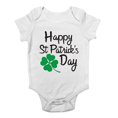 Happy St Patrick/'s Day Boys Girls Baby Grow Vest Bodysuit