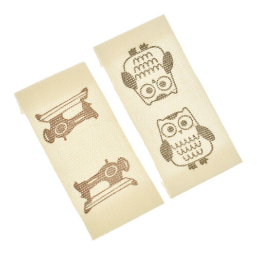 Label Eule Nähmaschine Muster 100stk Kleidung Tasche Deko Cartoon Nähen DIY Neu