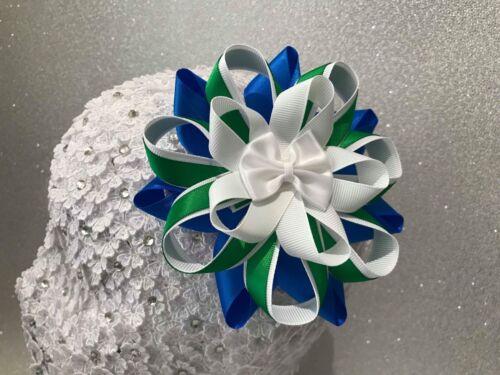 Handmade blue//white//green school large pretty Harajuku romany hair bows