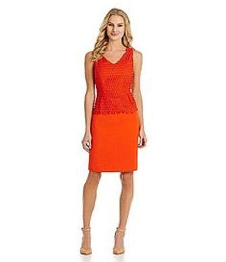 Antonio Melani Eudice Orange Crochet Stretch Sheath Work Social Dress 2