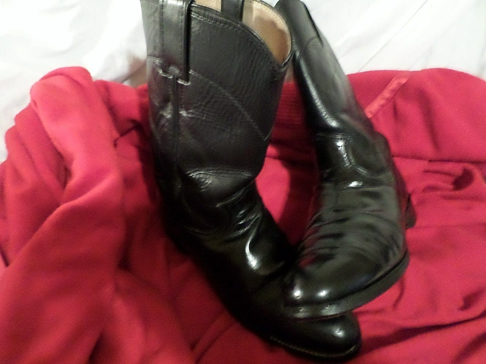 MNEN PREOWN JUSTIN LEATHER ROPER STYLE COWBOY BOOTS-BLK-sz 7 B