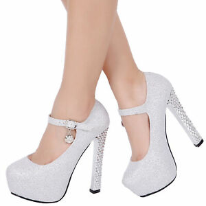 05526a3d2f4e Image is loading Women-Platform-Strappy-High-Heels-Wedding-Shoes-Sandals-