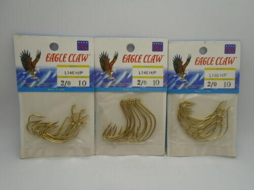 3pks Eagle Claw L146 H//P Kahle Ue Offset Gold Size 2//0 USA Fishing Hooks