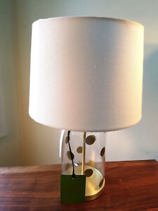 Details About Kate Spade New York Gold Polka Dot Table Lamp With Shade