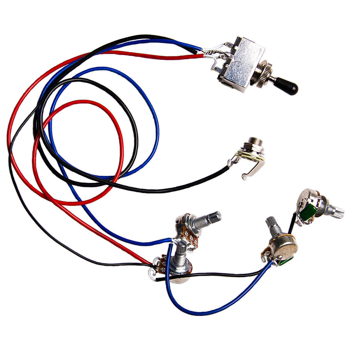 Guitar Wiring Harness Kit 2v2t 3 Way Switch Ffor Parts Pickup 1v2t 5 500k Pots For Fender Strat Replacement