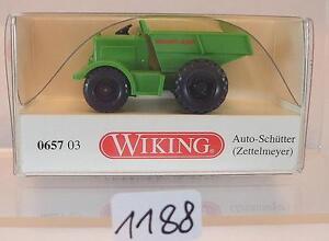 Wiking 1/87 Nº 0657 03 Auto-schütter Zettelmeyer Vert Neuf Dans Sa Boîte #1188 Les Commandes Sont Les Bienvenues.