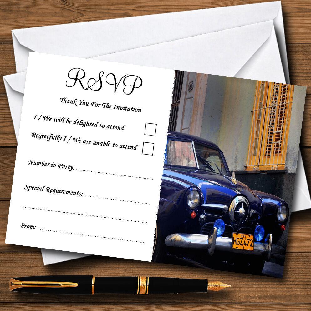 Cuba Cubain RSVP Bleu Voiture personnalisé mariage ou fête RSVP Cubain cartes 7b1125