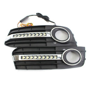 Flowing-LED-Fog-Light-Cover-Mesh-Grille-Turn-Signal-Lamp-DRL-For-AUDI-A4-B8-pair