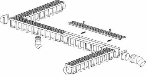 4m Entwässerungsrinne für modulares System A15 98mm komplett Grau Line