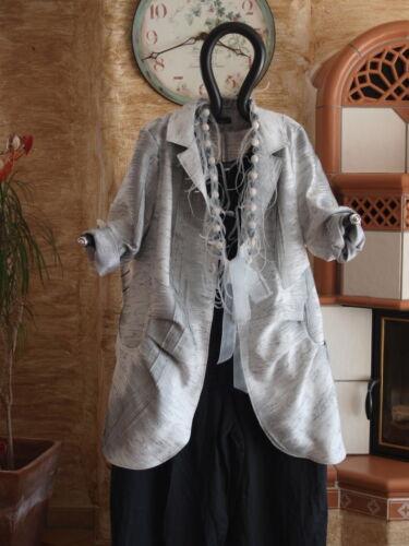 XL 48 50 CHALONA Lagenlook Sommerlicher Jaquard Jacke ungefüttert silber Gr