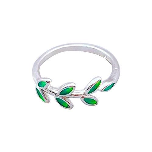 Female Chic Trinket Green Leaf Design Temperament Adjustable Opening Rings C
