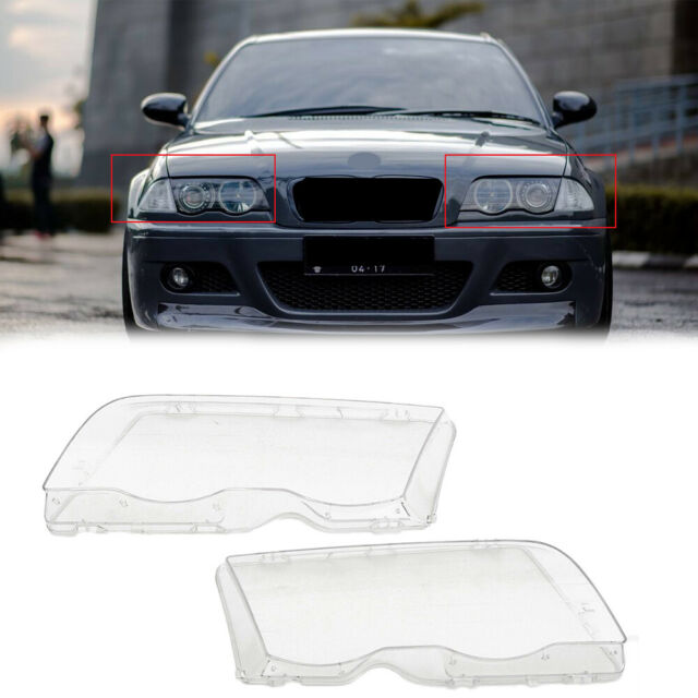 Pair Headlight Cover Lenses Headlamps For BMW E46 3 Series