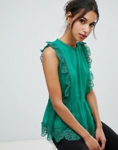 Ted-Baker-OMARRI-Mixed-lace-peplum-sleeve-top-Size-4-UK-14-RRP-129-Blouse