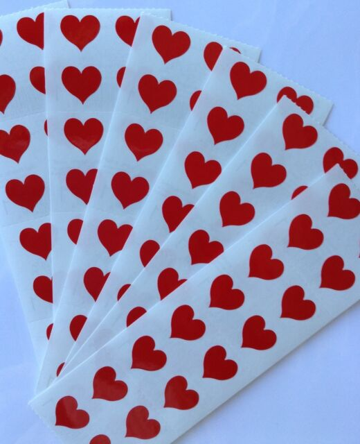 Strip of Vintage 1979 Red Hearts Stickers/' Mrs Grossman RED HEARTS SMALL
