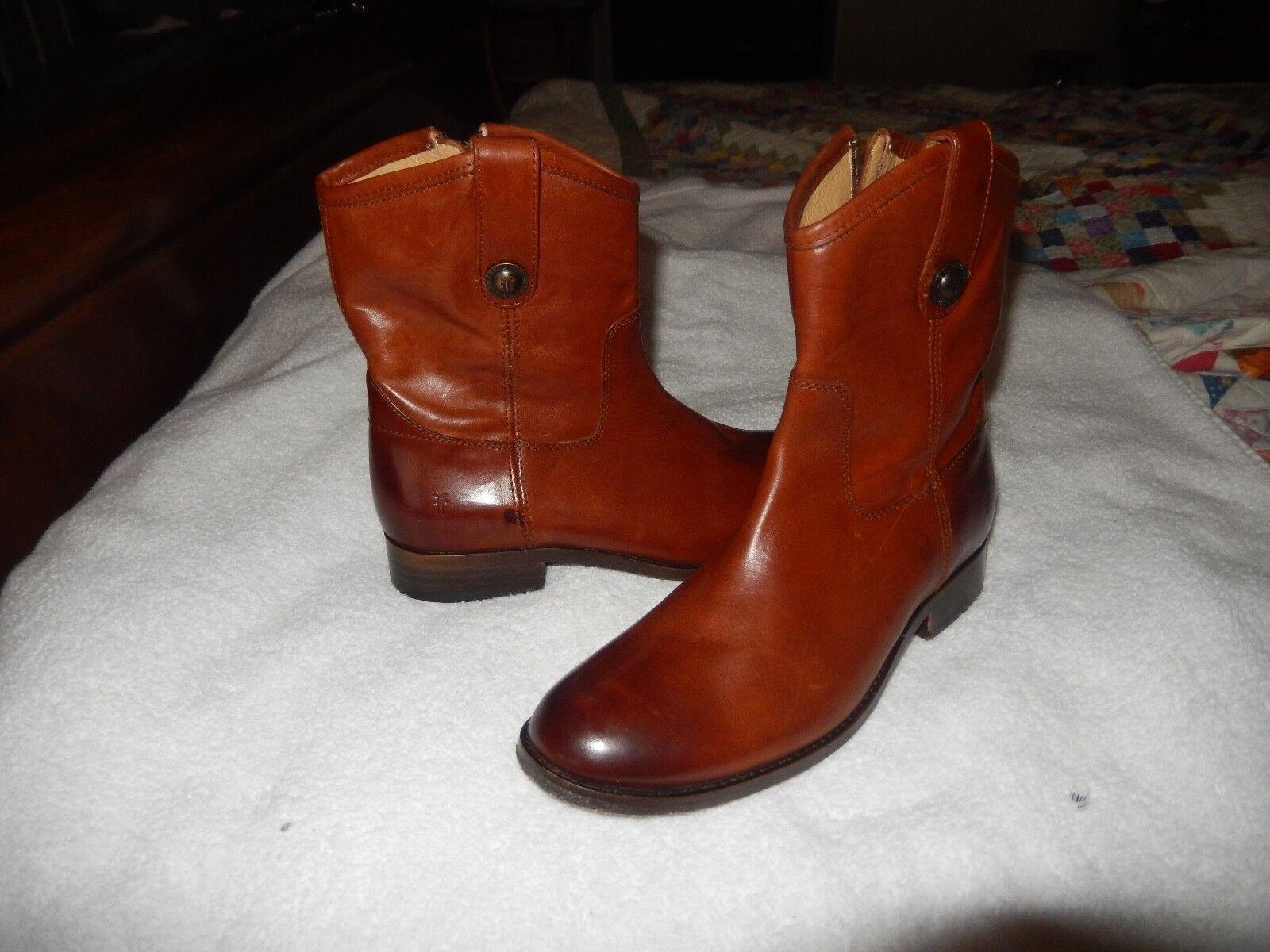 New Women's Frye Boots Melissa Button Short Cognac Riding Style 77897 6.5