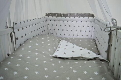 PILLOW//DUVET CASE COT BED INC BUMPER 3 PC GREY ZIG-ZAG BABY BEDDING SET COT