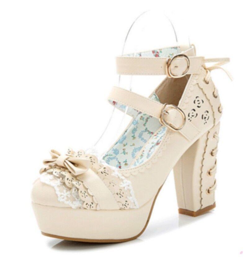 Hochzeit Süß Pumps Schuhe Schnalle Spitzen Schleife Damen Cosplay Schuhe Pumps High Heel 46bfb8