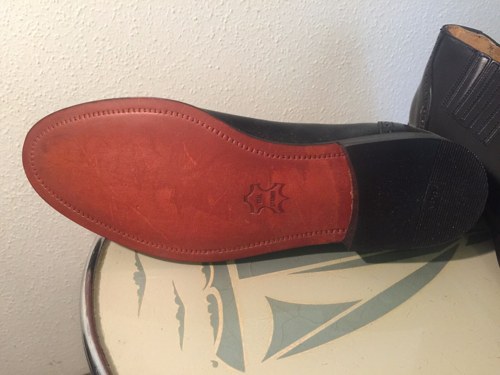mens slip on brogue nos shoes made in England 1980's nos brogue size UK11 Red or Dead! bf7490