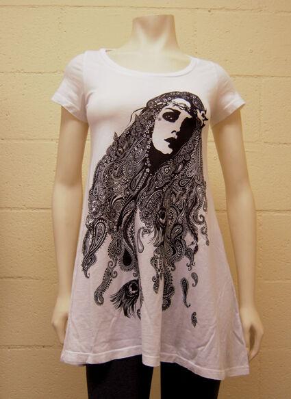 Lauren Moshi Weiß Gypsy Girl T-Shirt Dress  NEW - 3001-TNC-1146