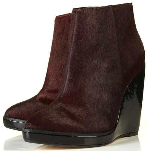 New Ankle Wedge Brushed Zip Boots Leather Patent With Shoes Topshop Shiny wxTZSqqR