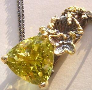 CeS-Kette-XL-Oro-Verde-Lemonquarz-Smaragd-mit-Blume-Bluete-in-Gold-und-Silber